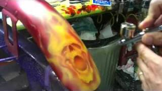 Six Pack O Skullz airbrushing with real fire by Scott MacKay