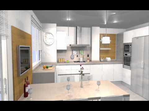 Estudio de cocina con mesa integrada y zona de tv ARREDO