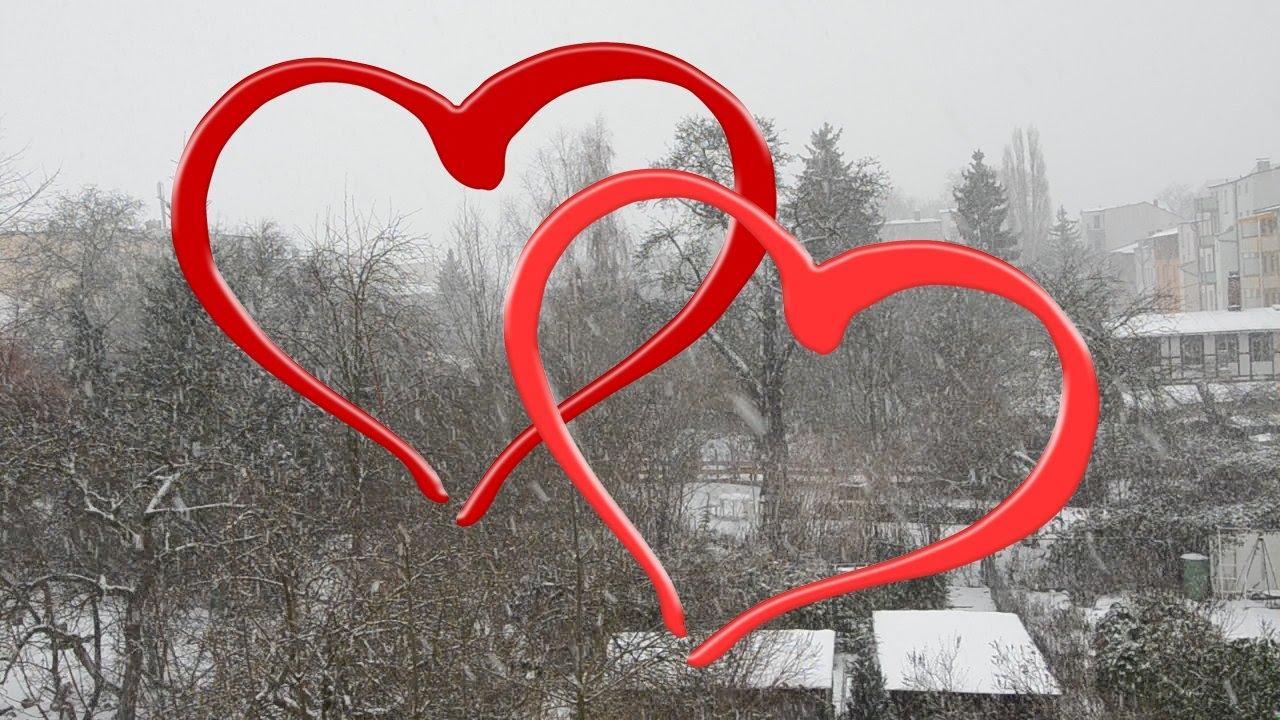 Valentinstag 2016 💕 Zwei Rote Herzen Vor Schnee   YouTube