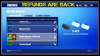 REFUNDS ARE BACK! | REFUND YOUR BAD SKINS = FREE V BUCKS! (How To Refund In Fortnite!)