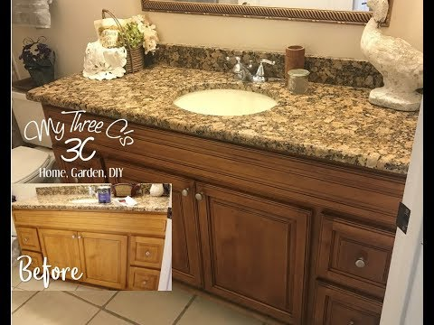 Refreshing Bathroom Cabinets Using General Finishes Java Gel Stain