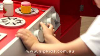 Hip Kids Retro Toy Kitchen | Wooden Childrens Pretend Play Kitchen | Kids Cooking Furniture