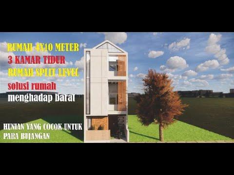 inspirasi desain rumah 4x10 meter | urban house concept
