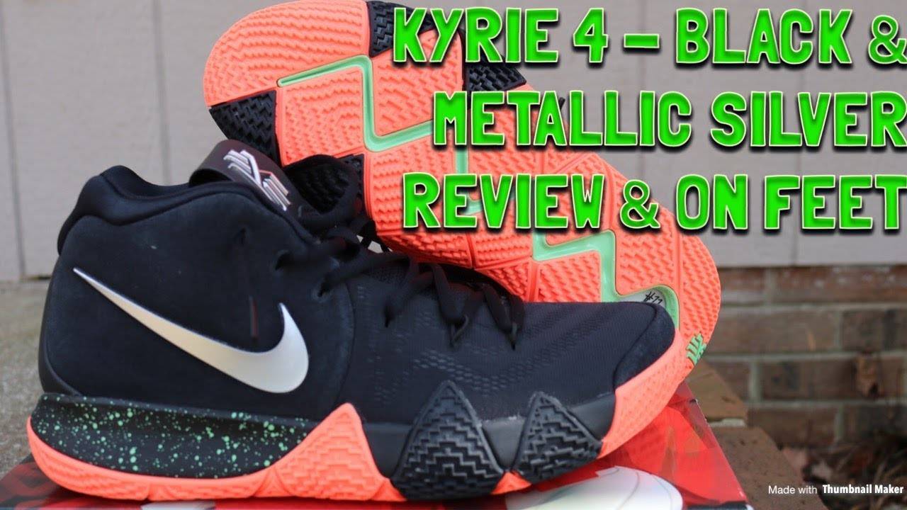 4deeba408818 NIKE KYRIE 4 VENUS FLYTRAP BLACK   METALLIC SILVER REVIEW   ON FEET ...