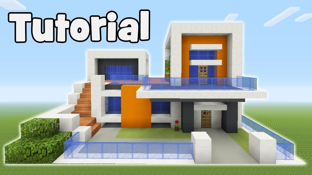 Minecraft tutorial how to make a modern house 6
