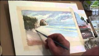 How to paint a seascape in watercolor - Painting Lesson tutorial classes
