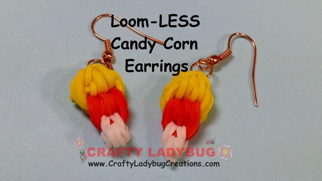 Rainbow Loomless Candy Corn Earringshalloween Series Easy Charm Tutorials  By Crafty Ladybug