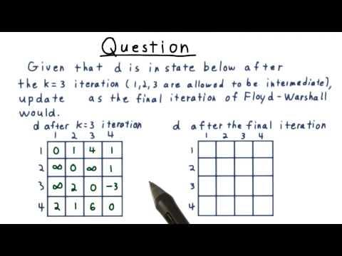 Floyd-Warshall Algorithm Exercise - GT - Computability, Complexity, Theory: Algorithms