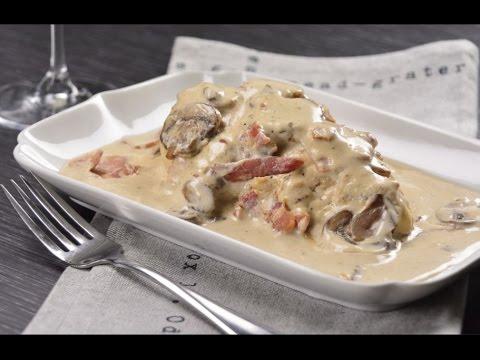 Pechugas de pollo con salsa de champi ones y tocino youtube - Pechuga d pollo en salsa ...