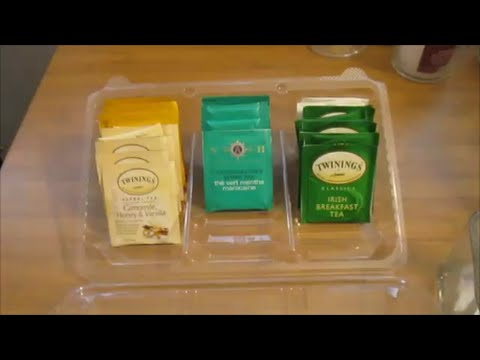 Diy Organizing Free Tea Bag Organizer Using A Costco Cookie Container You