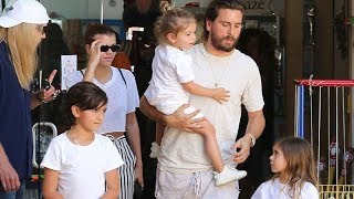 EXCLUSIVE - Sofia Richie Pays For Toy Store Shopping Trip With Scott Disick And His Kids