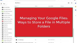 Adding a File to Multiple Folders in Your Google Drive
