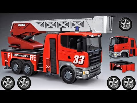 Fire Truck Builds 3D Animation Game Cartoon For Children | F