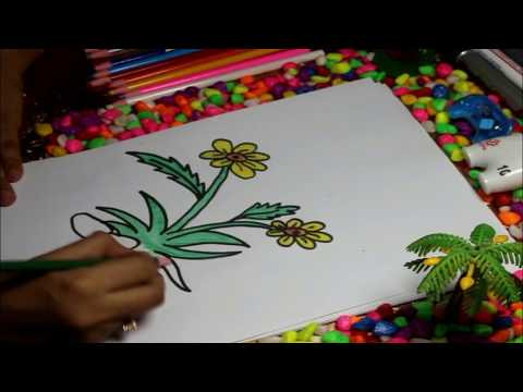 how to art amazing kids flower funny drawing #satisfying videos in 2019