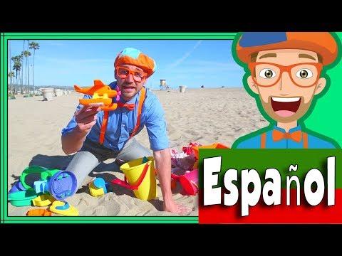 Blippi Espa帽ol en La Playa con Juguetes de Arena | Aprende Colores para Ni帽os