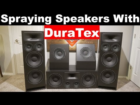 How To Spray DuraTex | Home Theater Speakers | Finishing The DIY Sound Group 1299 and Volt 10