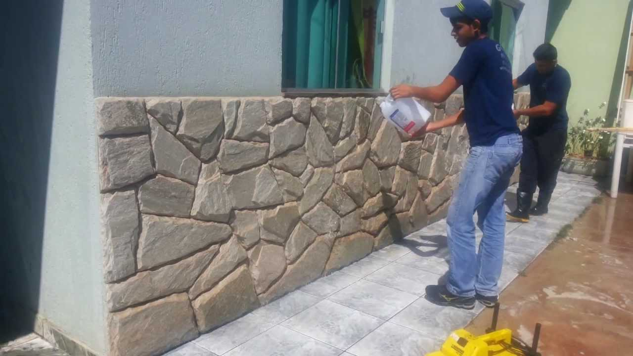 Limpeza de paredes em pedras youtube for Paredes decoradas modernas