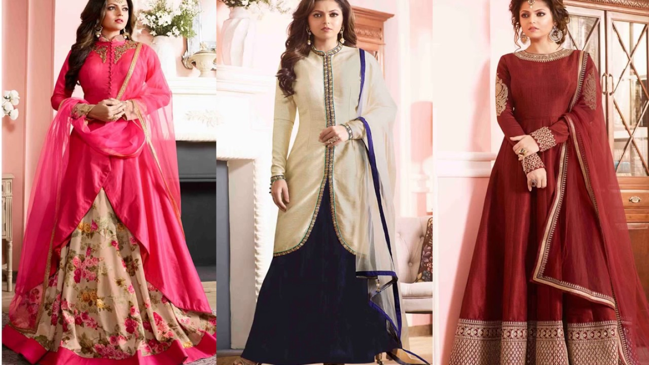 Modern Long anarkali suits party wear dress designs; New