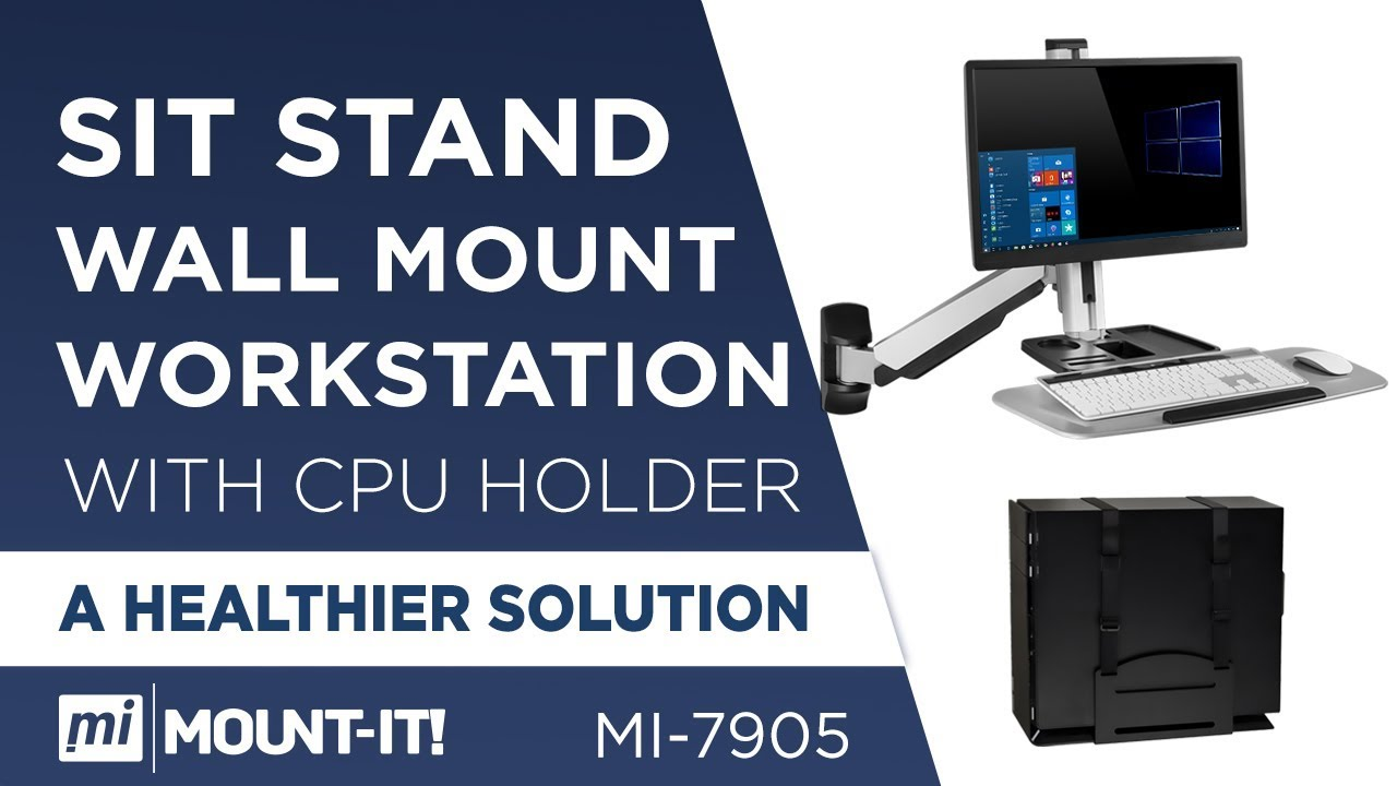 Sit Stand Wall Mount Workstation /& Stand Up Computer Station with Tray