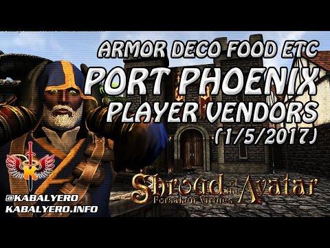 Shroud Of The Avatar Market Watch 💰 Armors Decos Food Etc, Port Phoenix Player Vendors (1/5/2017)