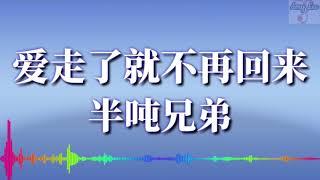 🎵❤【爱走了就不再回来】半吨兄弟【歌词版lyrics】