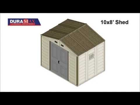 DuraMax 10X8 Woodside Vinyl Shed Assembly Animation