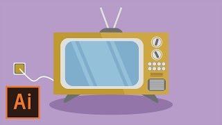 Illustrator Tutorial - Retro TV Flat Design (Illustrator Flat Design for Beginners)