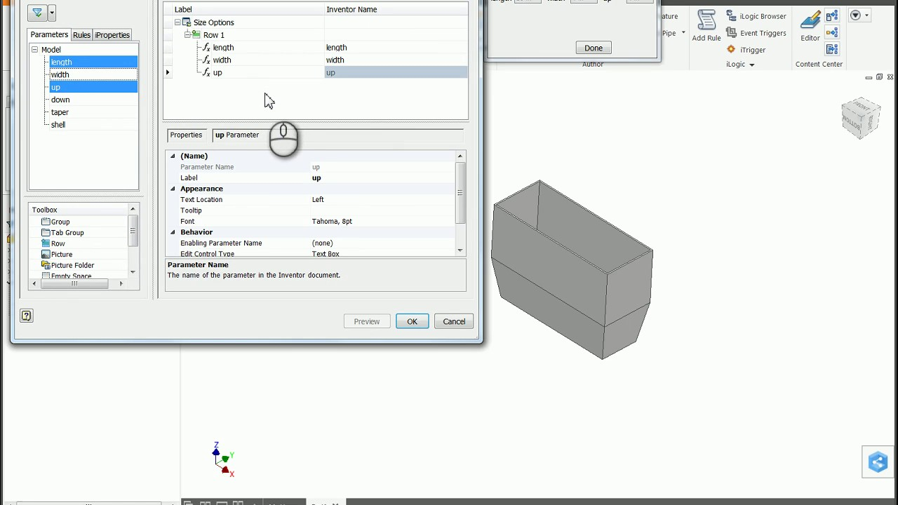 Autodesk Inventor Tip: Parameters & Basic Form for Part Templates