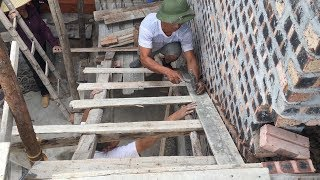 The Tirst Step To Construction And Pour Concrete Stairs // Techniques Build Stair Traditional