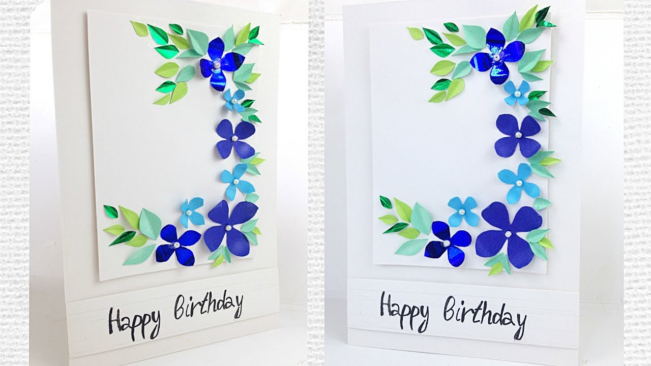 Greeting card for women\'s / mother\'s day flower designs making ideas  tutorial easy / for friend