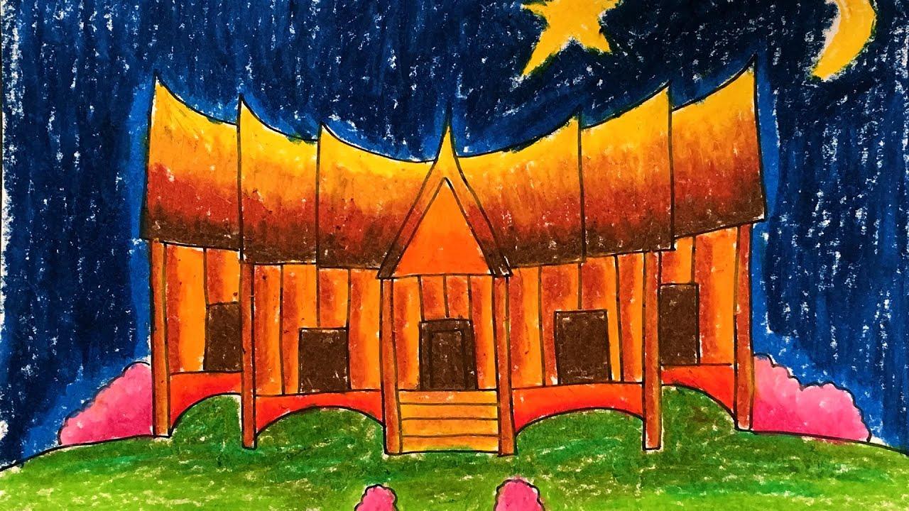 Cara Menggambar & Mewarnai Rumah Adat Gadang Minangkabau