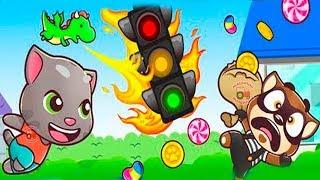 ГОВОРЯЩИЙ ТОМ БЕГ ЗА СЛАДОСТЯМИ #13 ДРУЗЬЯ Анжела Бен и Джинджер игровой мультик для детей