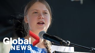 Greta Thunberg joins hundreds of youth environmental protesters in Los Angeles, makes remarks | FULL