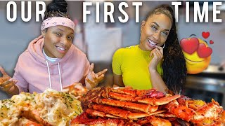 Our *FIRST TIME* 😱😍 (JUICY CRAB Mukbang) | EZEE X NATALIE
