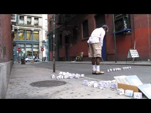 Patrick Barr Urban Golfing with Milk Cartons in SoHo
