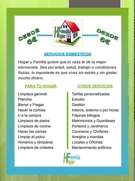 HOGAR Y FAMILIA Servicio doméstico, servicio de limpieza, cuidado de ...