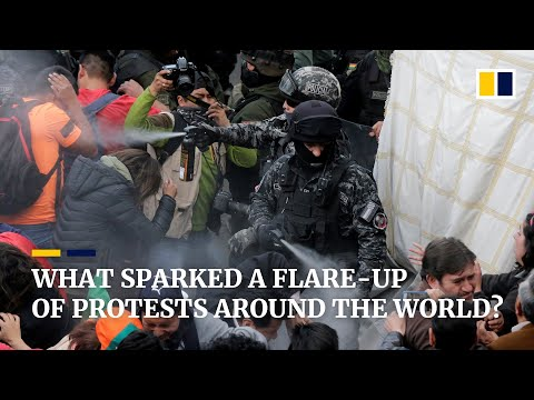 What sparked a flare-up of protests around the world?