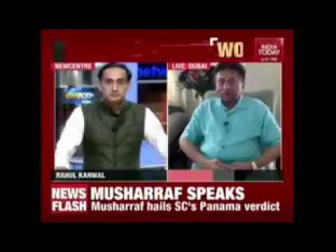 Gen Musharraf grilling rahul kanwal on his remarks against judiciary #PanamaCaseDecision