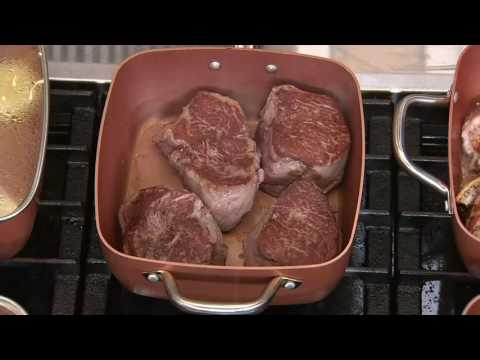 Copper Chef 9.5″ Square Pan with Lid, Fry Basket, Steam Rack & Recipes on QVC