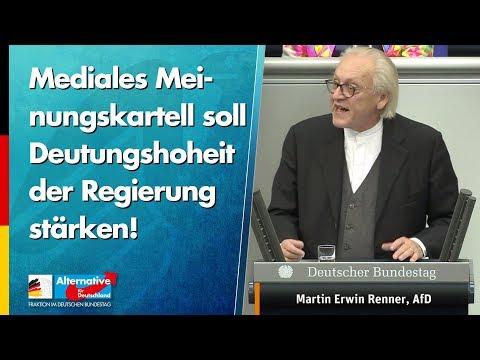 Mediales Meinungskartell soll Deutungshoheit der Regierung stärken! - Martin Renner - AfD-Fraktion