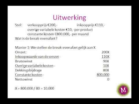 V5mo1 Break Evenanalyse Berekening Van De Afzet En Omzet Youtube