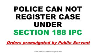 Police can not register FIR under section 188 IPC I Covid -19 Epidemic I Tenant Verification I