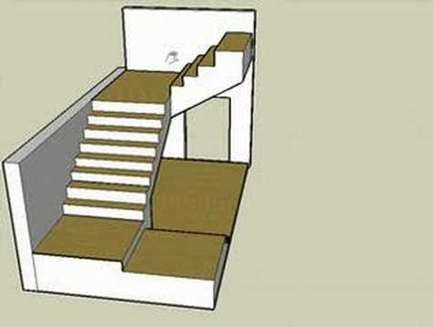 Escalera de tres cuerpos en 3d youtube for Escaleras en u