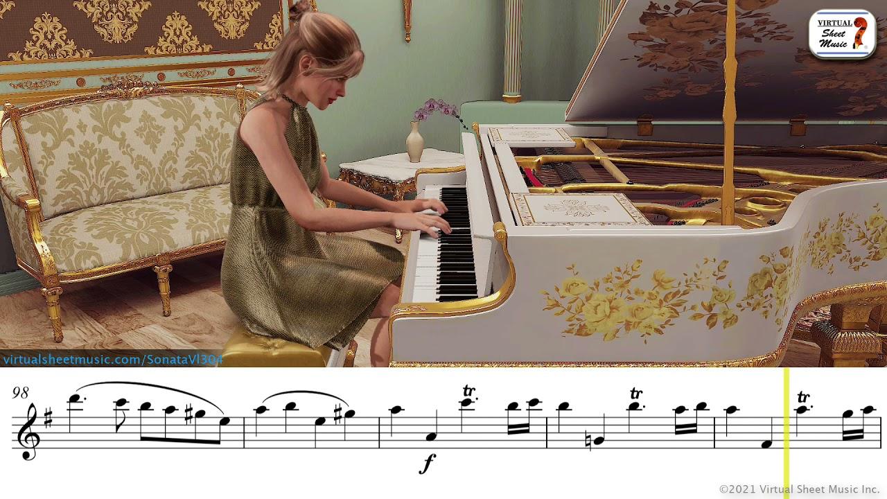 Sonata in E minor K 304, 1st mov. violin and piano - Mozart - Sheet Music Play-Along
