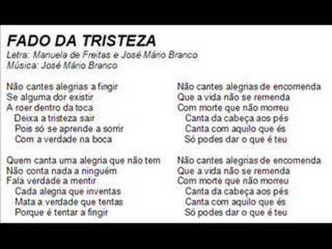 Fado da Tristeza - José Mário Branco: De 1982 do album Ser Solid(t)ário de José Mário Branco. Um grande fado!