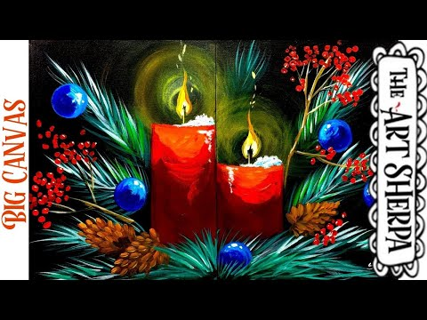 LARGE CANVAS Holiday Floral Easy Acrylic painting tutorial step by step Live Streaming