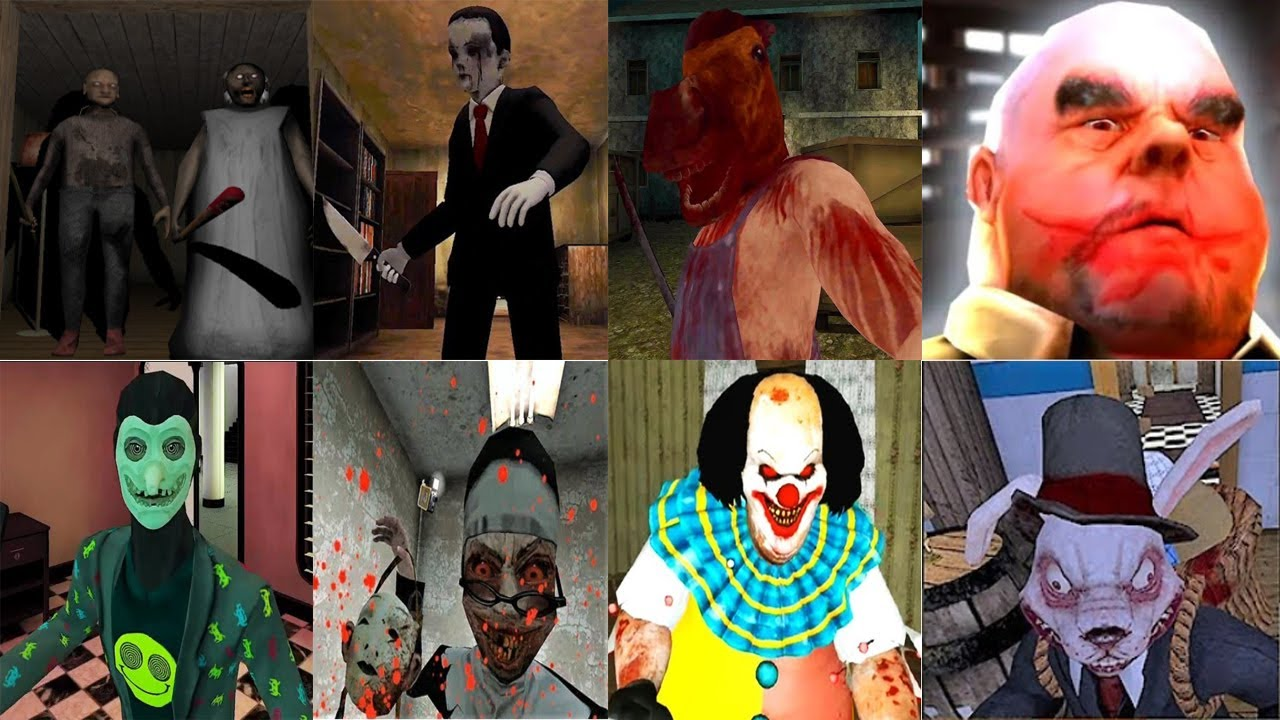 Granny Chapter Two,Evil Kid,Head Horse,Mr Meat,Smiling-X Corp,Evil Nun,IT Horror Clown,Erich Sann,