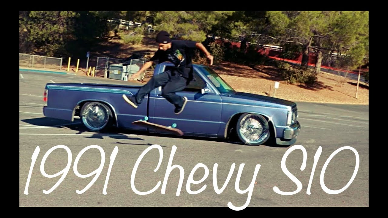 Bagged lowrider truck hitting switches skateboarding clips