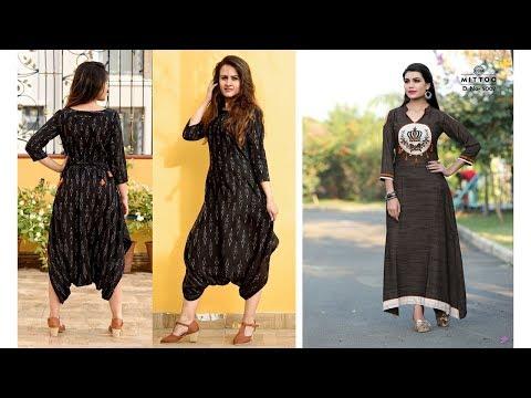 Straight Cut Black Kurti Designs 2019   Indian Fashion 2019