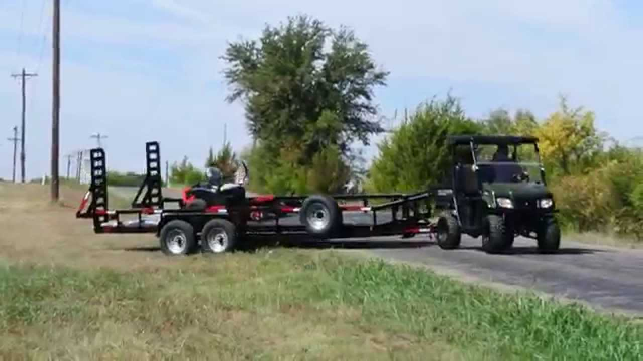 LANDmaster LM500 Pulls Heavy Duty Trailer with Mower